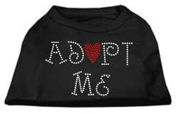 adopt me heart rhinestone sleeveless dog t-shirt black