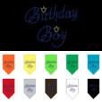birthday boy crown rhinestone dog bandana colors