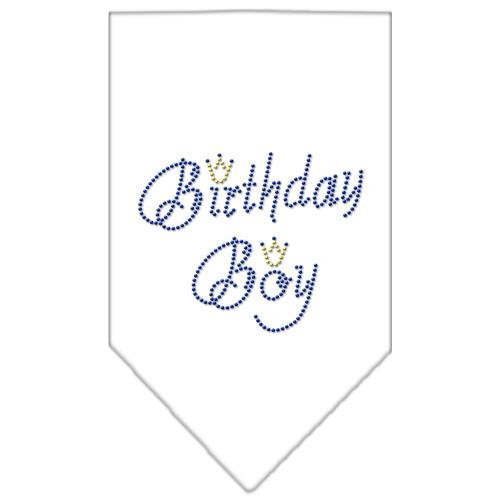 birthday boy crown rhinestone dog bandana white