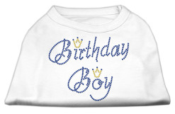 birthday boy crown rhinestone sleeveless dog t-shirt white