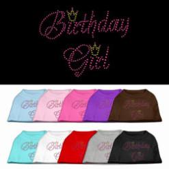 birthday girl crown rhinestone sleeveless dog t-shirt colors