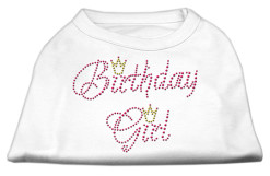 birthday girl crown rhinestone sleeveless dog t-shirt white