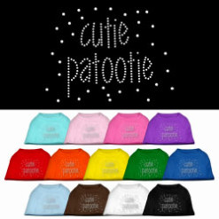cute patootie rhinestones dog t-shirt colors