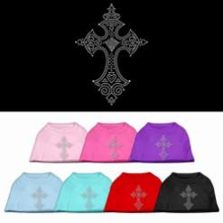 decorative christian cross rhinestones dog t-shirt colors