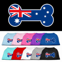 dog bone Australian flag outline dog screen print t-shirt multi colors
