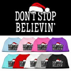 don't stop believin sant hat christmas dog t-shirt multi-color
