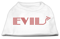 evil rhinestones dog t-shirt white