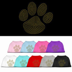 gold dog paw rhinestones dog t-shirt colors