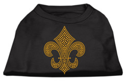 gold fleur de lis rhinestones dog t-shirt black