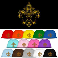 gold fleur de lis rhinestones dog t-shirt colors