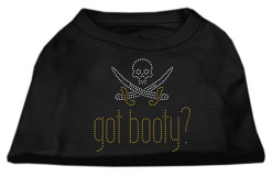 got booty pirate cutlasses rhinestones dog t-shirt black