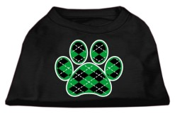 green Argyle dog paw dog t-shirt black