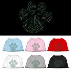 green dog paw rhinestones dog t-shirt colors