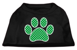 green polka dot dog paw dog t-shirt black