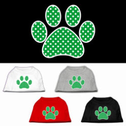 green polka dot dog paw dog t-shirt multi-colors