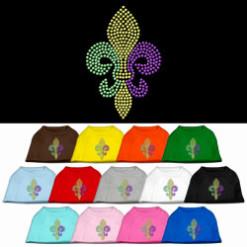 mardi gras colors fleur de lis symbol rhinestones dog t-shirt colors