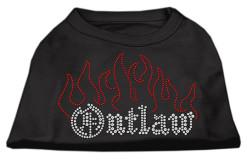 outlaw flames rhinestones dog t-shirt black