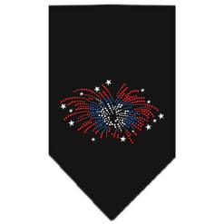 patriotic fireworks rhinestone dog bandana black