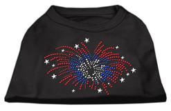 patriotic fireworks stars rhinestones dog t-shirt black