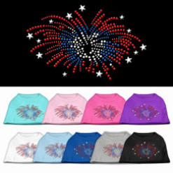 patriotic fireworks stars rhinestones dog t-shirt colors