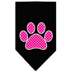 pink polka dot paw dog bandana black