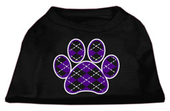 purple Argyle dog paw dog t-shirt black