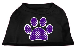 purple polka dot Screenprint dog paw t-shirt sleeveless black