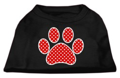 red polka dot Screenprint dog paw t-shirt sleeveless black