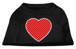 red polka dot Screenprint hearts t-shirt sleeveless black