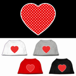 red polka dot Screenprint hearts t-shirt sleeveless
