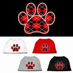 red Argyle dog paw dog t-shirt multi colors