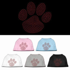 red dog paw rhinestones dog t-shirt colors