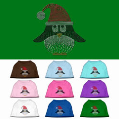 santa hat penguin rhinestones dog t-shirt colors