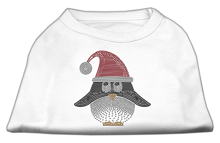 santa hat penguin rhinestones dog t-shirt white
