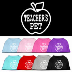 teacher's pet apple screen print sleeveless shirt colors