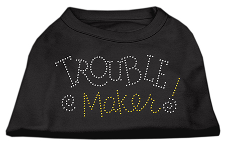 troublemaker rhinestones dog t-shirt black