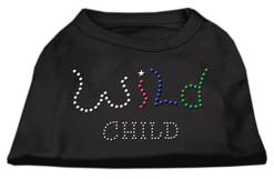 wild child rhinestones dog t-shirt black