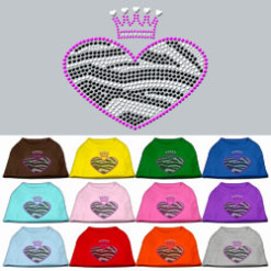 zebra heart crown rhinestones dog t-shirt colors