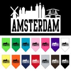 Amsterdam Skyline Silhouette dog bandana