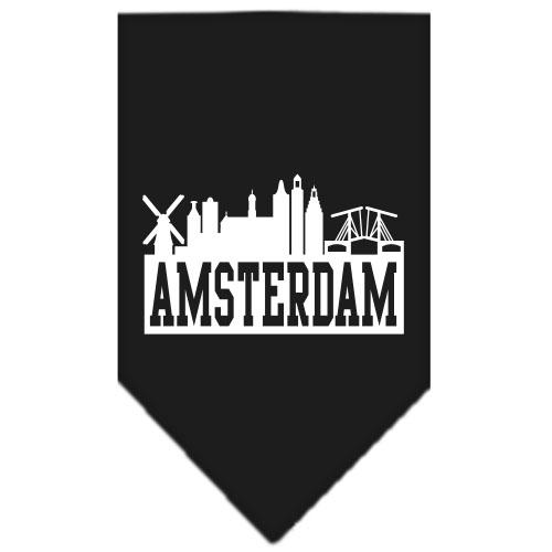 Amsterdam Skyline Silhouette dog bandana black