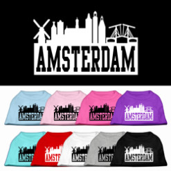 Amsterdam skyline dog t-shirt novelty