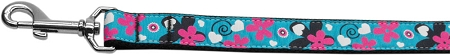 Aqua Flowers and Swirls Nylon Dog Leash