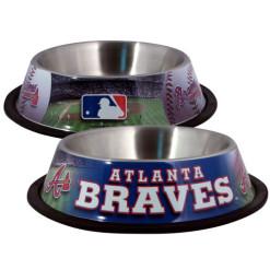 Atlanta Braves stainless dog bowl