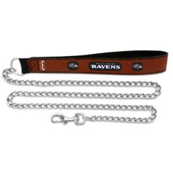 Baltimore Ravens NFL leather dog chain leash