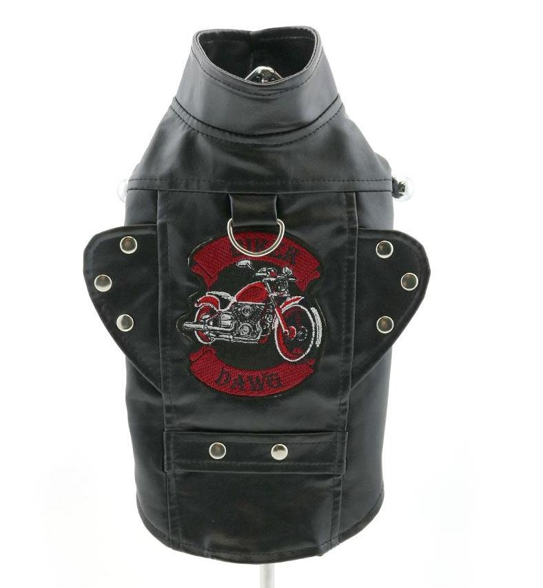 Black Biker Dawg Motorcycle Faux Leather Dog Jacket