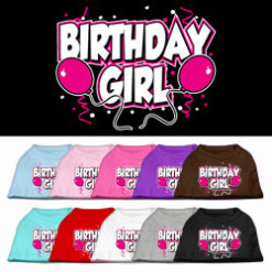 Birthday girl pink balloons and confetti dog screen print t-shirt colors