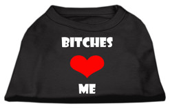 Bitches Love Me heart dog screen print t-shirt black