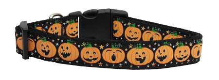 Black Jack-o-Lantern Facial Expressions Adjustable Dog Collar pumpkin for halloween