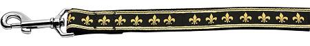 Black and Gold Fleur de Lis dog leash Mardi Gras