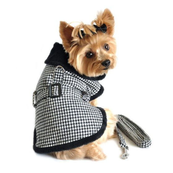 Black and White Faux Fur Checkered Dog Coat